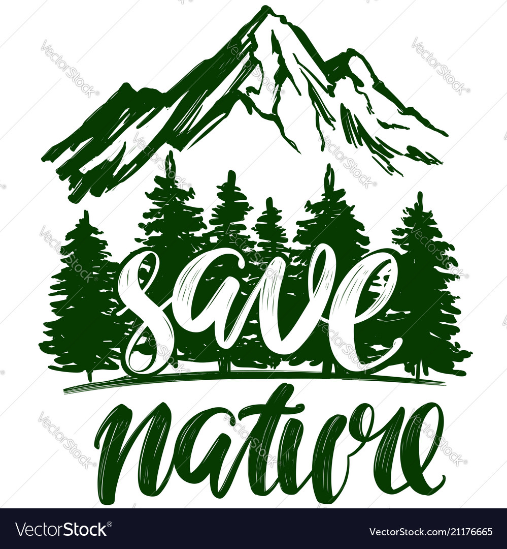 Save nature forest and mountain emblem