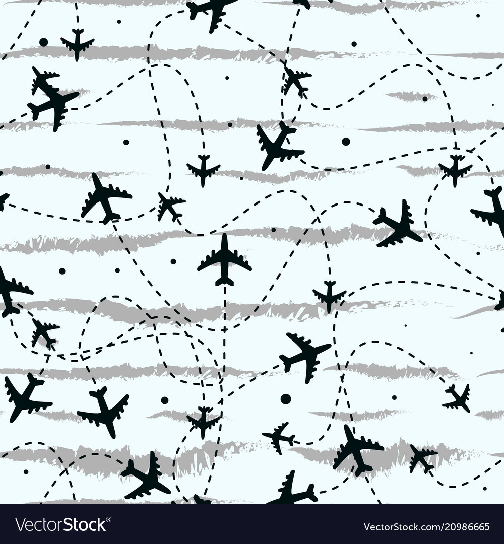 Seamless pattern with airplanes travel around the