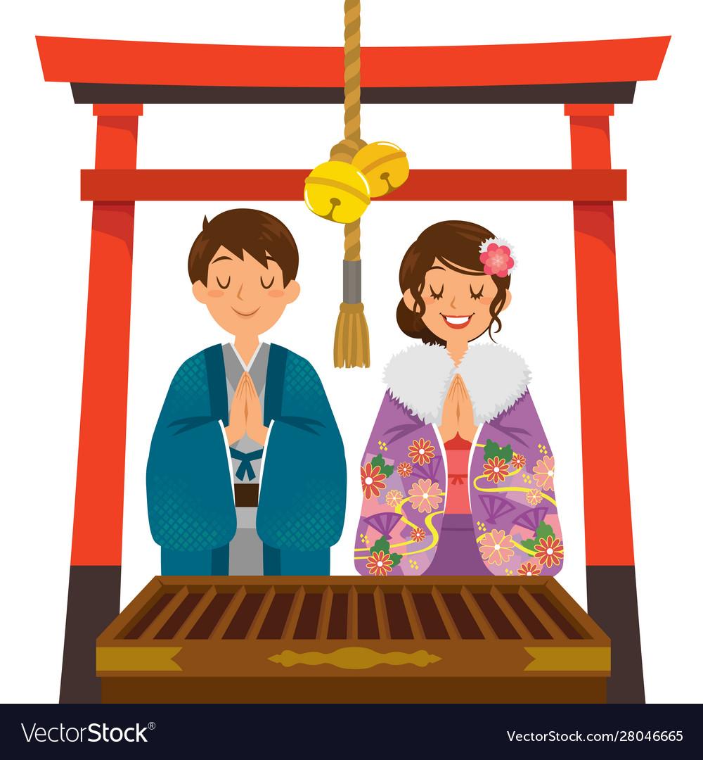 Shrine visit on japanese new year