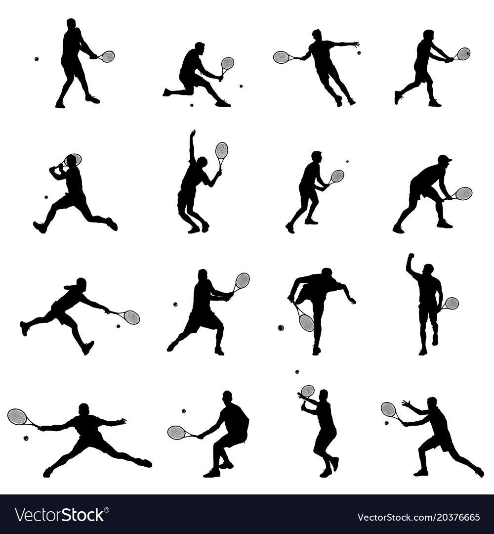 Tennis player set of sixteen men