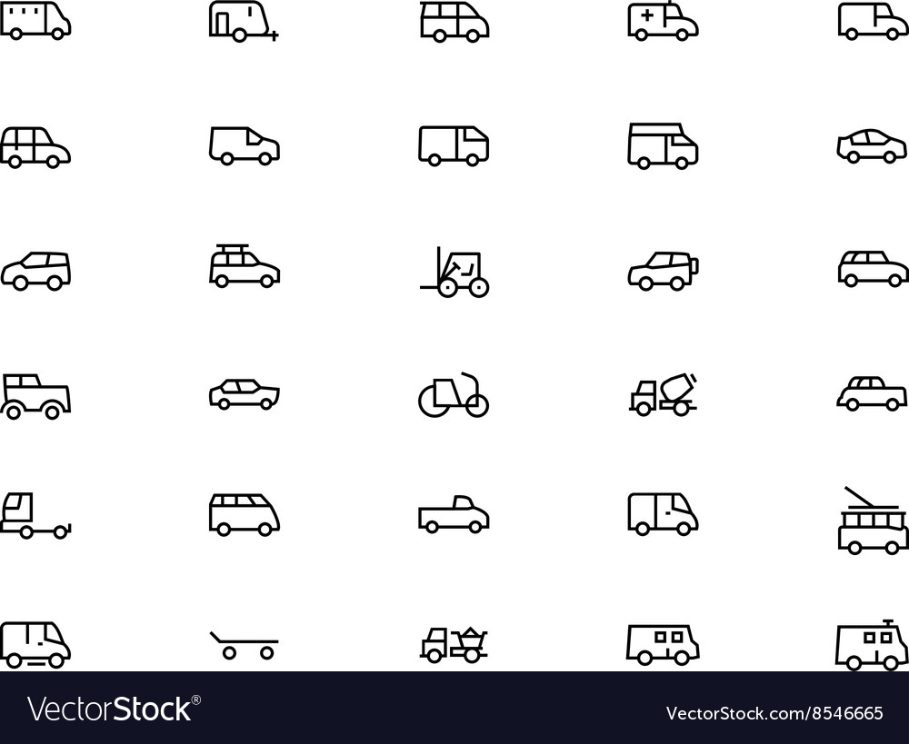 Vehicles Line Icons 2 vector image