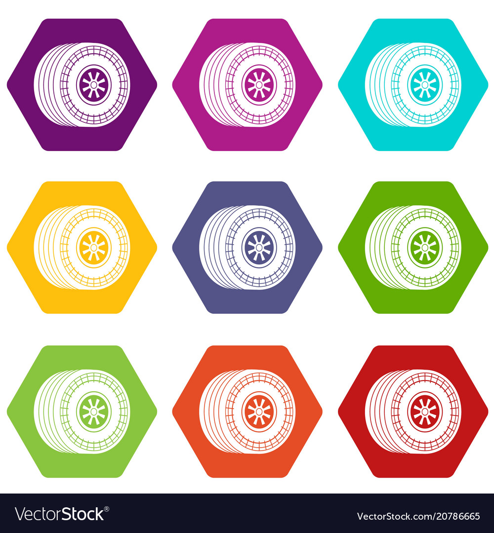 Wheel sport car icons set 9 vector image