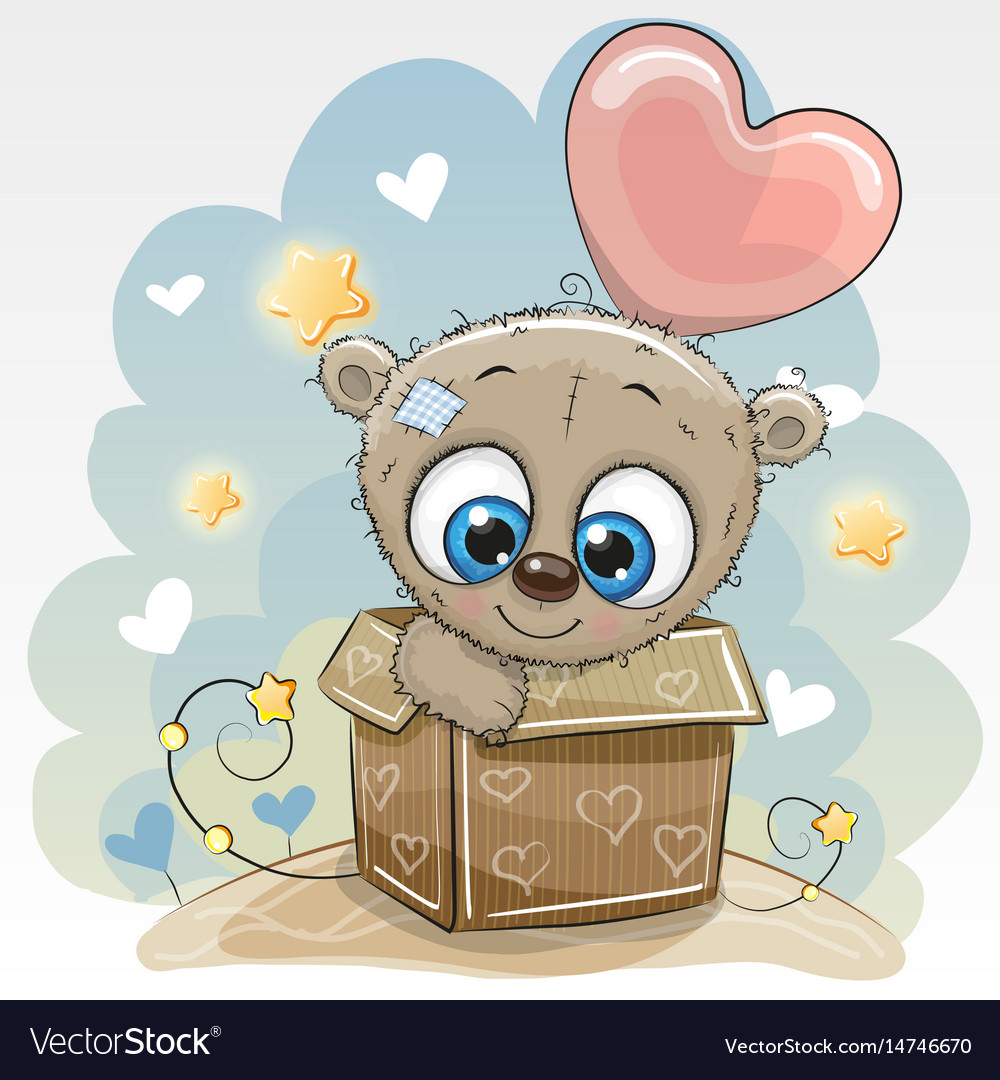 Birthday Card With A Cute Teddy Bear Royalty Free Vector