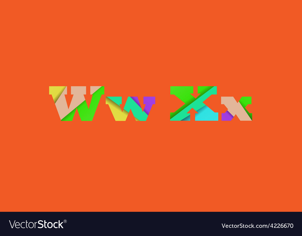 Cut into several parts within font WX vector image