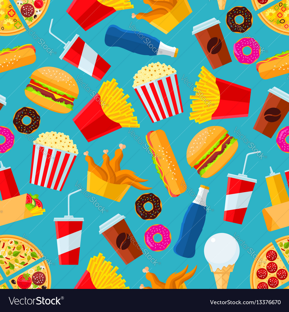 Fast food snacks and drinks seamless background