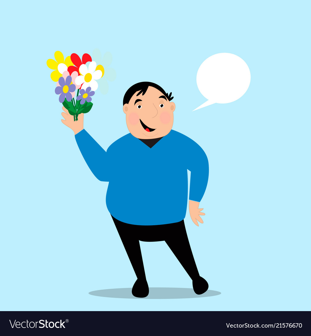 Fat man holds bouquet in his hand