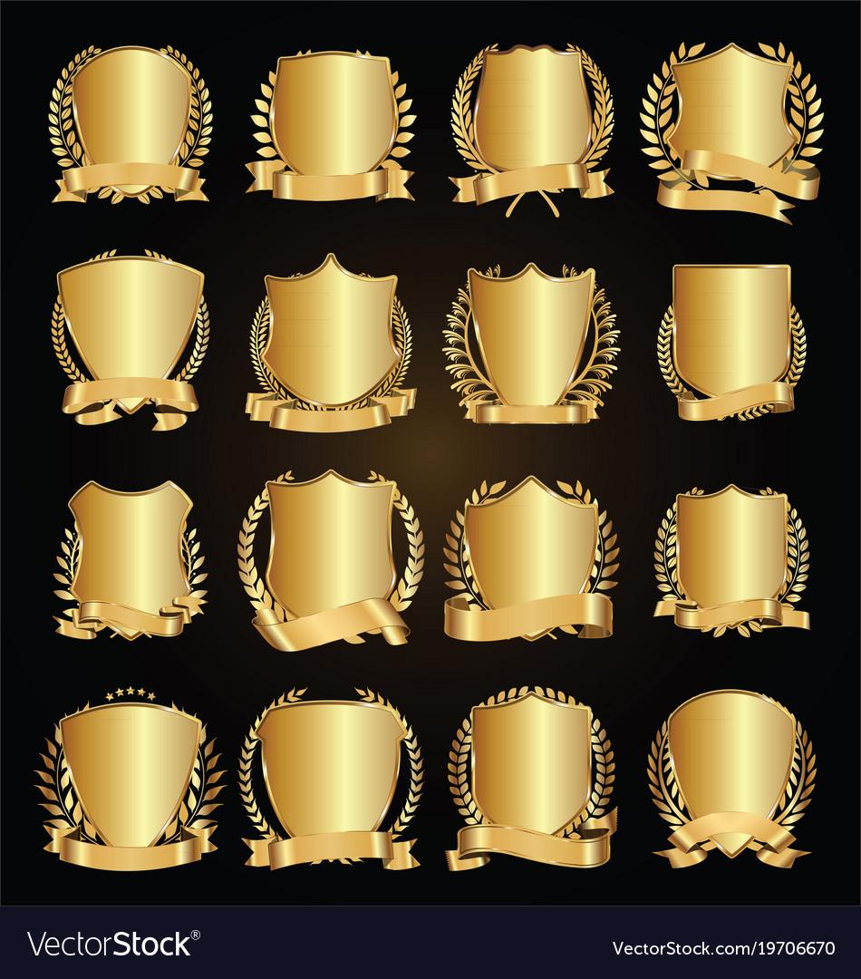 Golden shields laurel wreath with golden ribbon