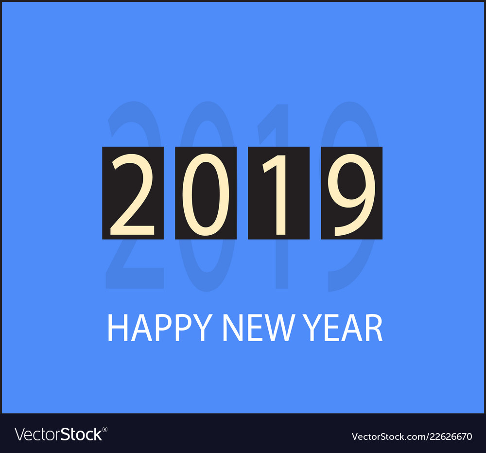 Happy new year 2019 icon on orange background