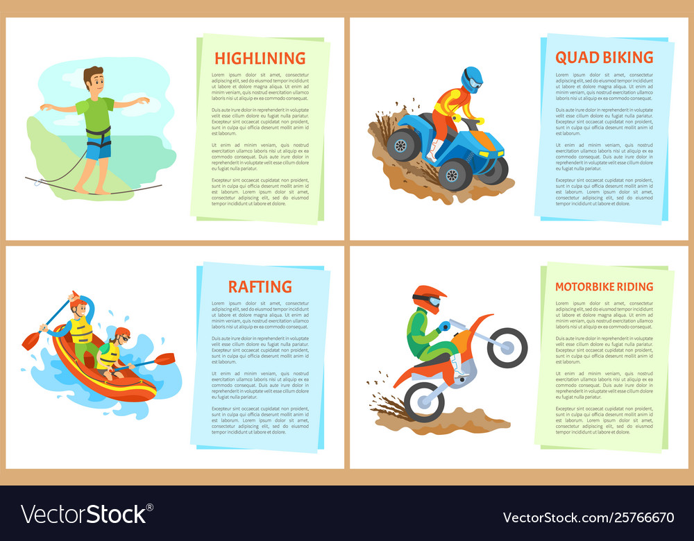 Highlining and quad biking hobposter with text