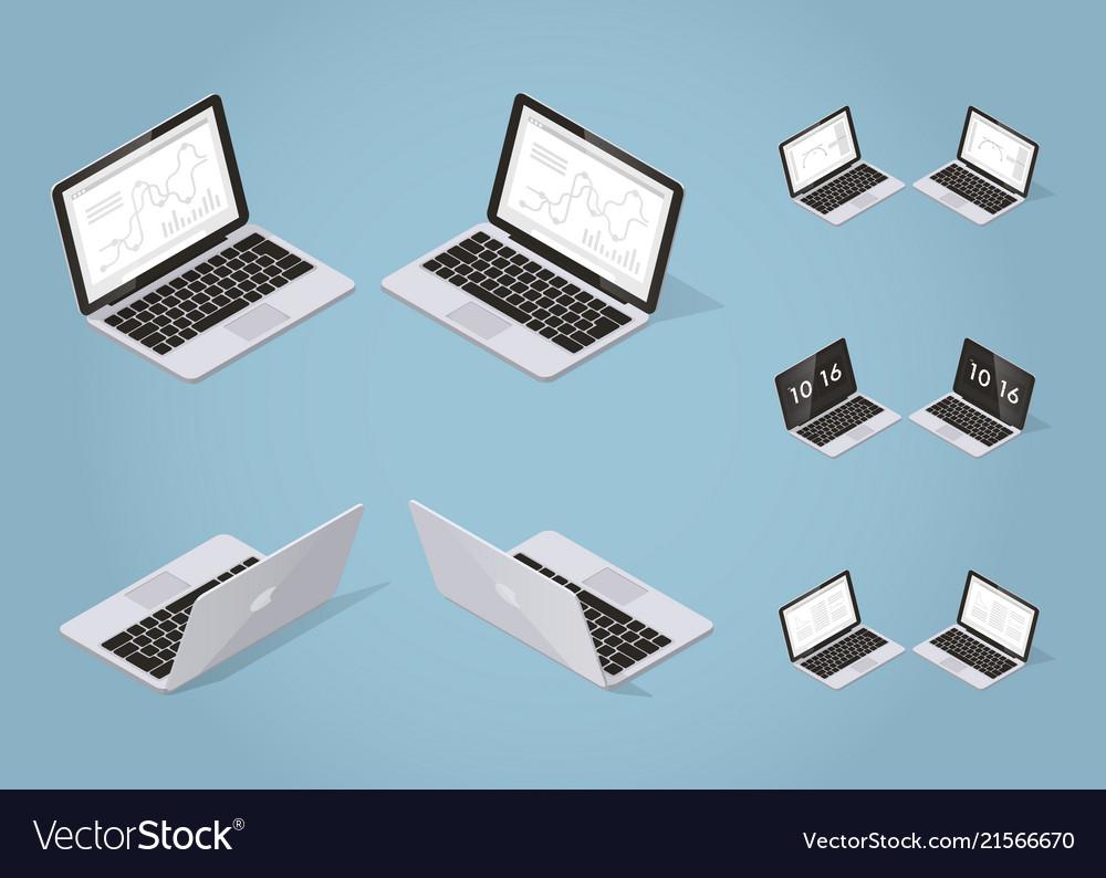 Isometric modern laptop set
