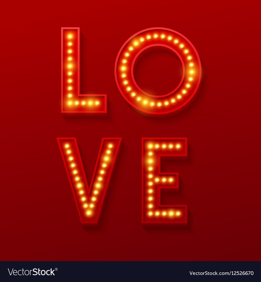 Love Retro light banner Valentines card