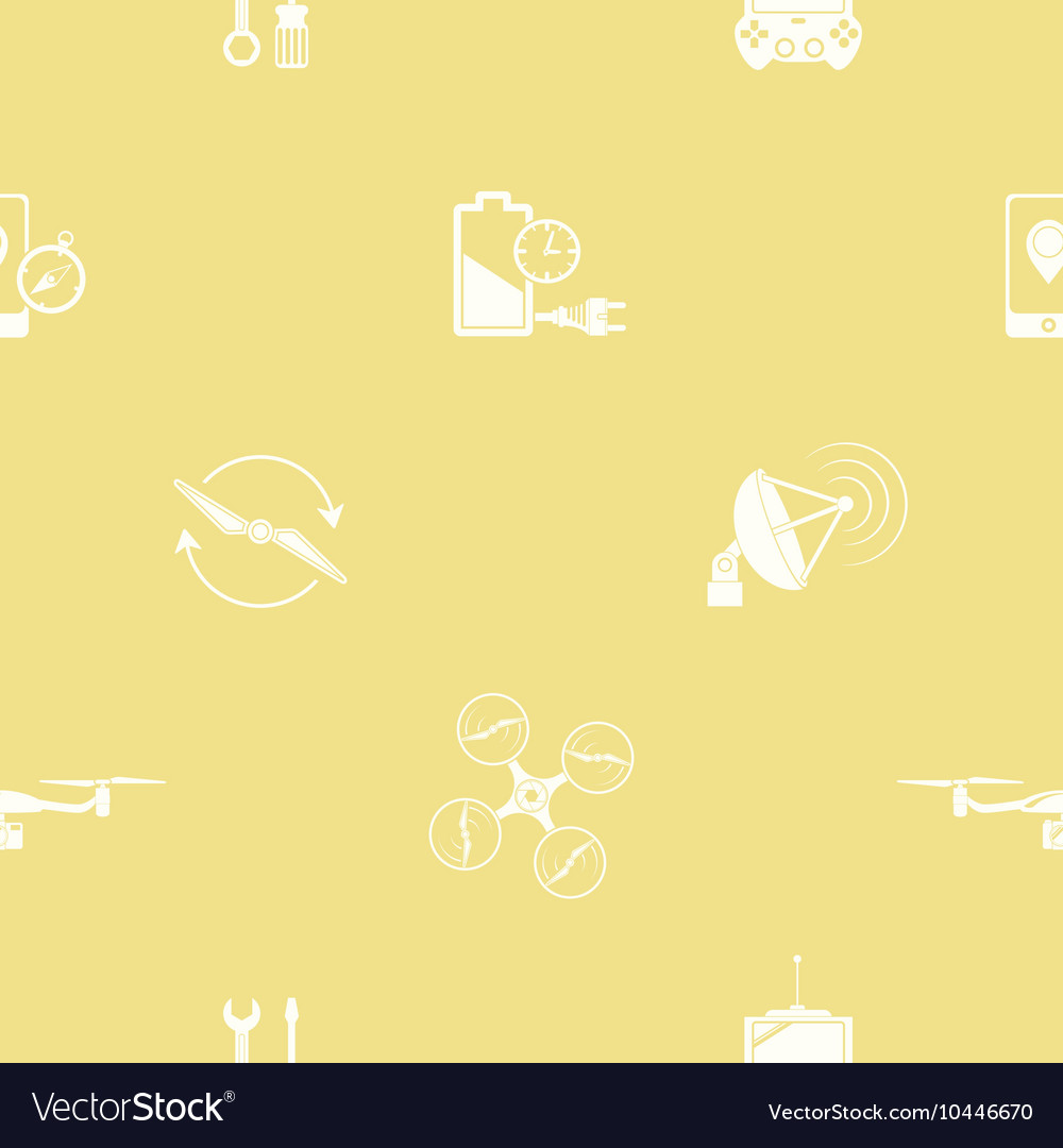 Seamless pattern with drone icons