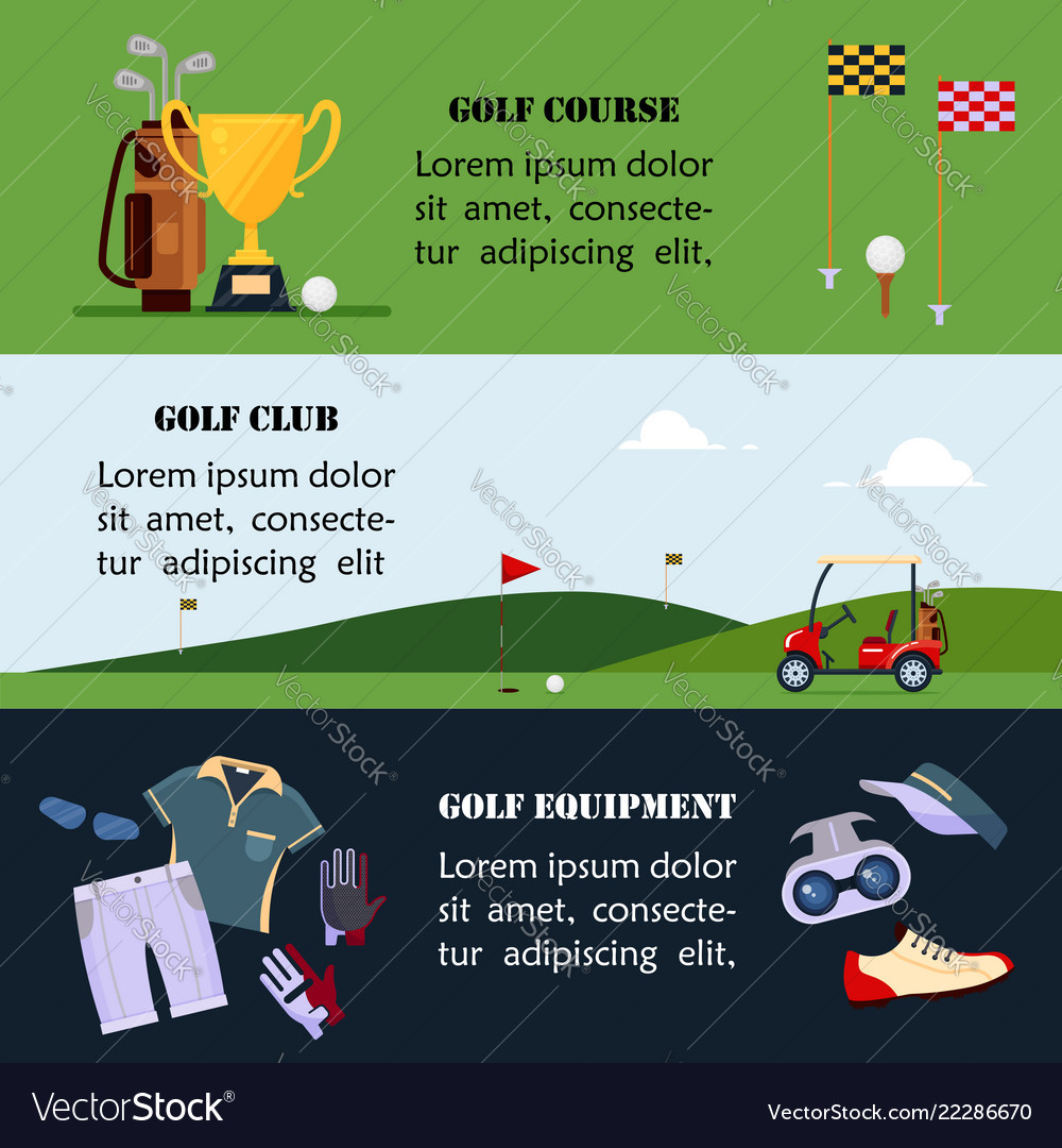Set Of Golf Banner Clothes And Accessories For Vector Image