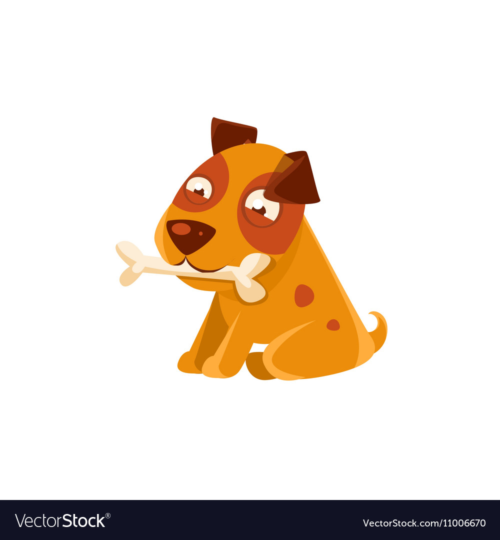 Smiling Puppy Holding A Bone In The Mouth vector image