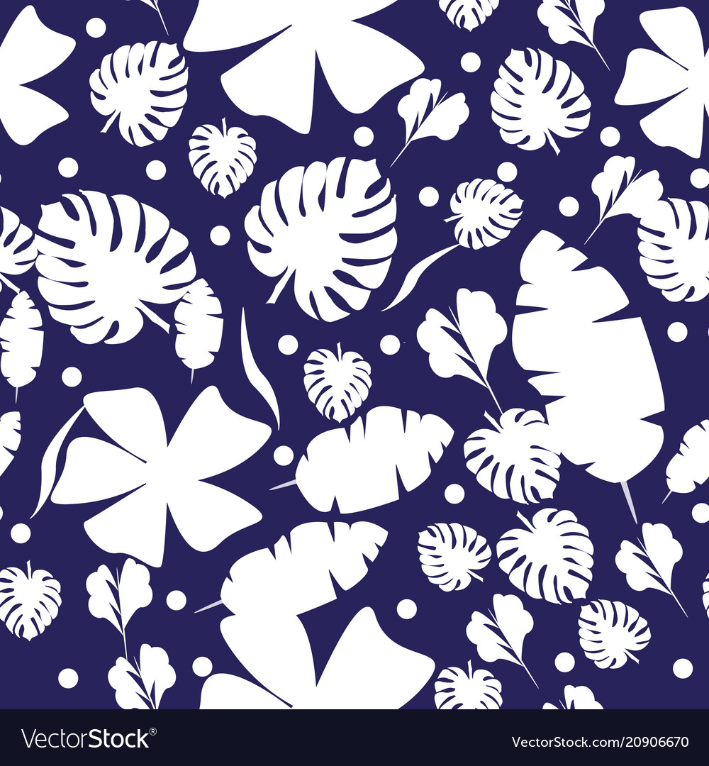 Tropic exotic palm leaves seamless pattern vector image