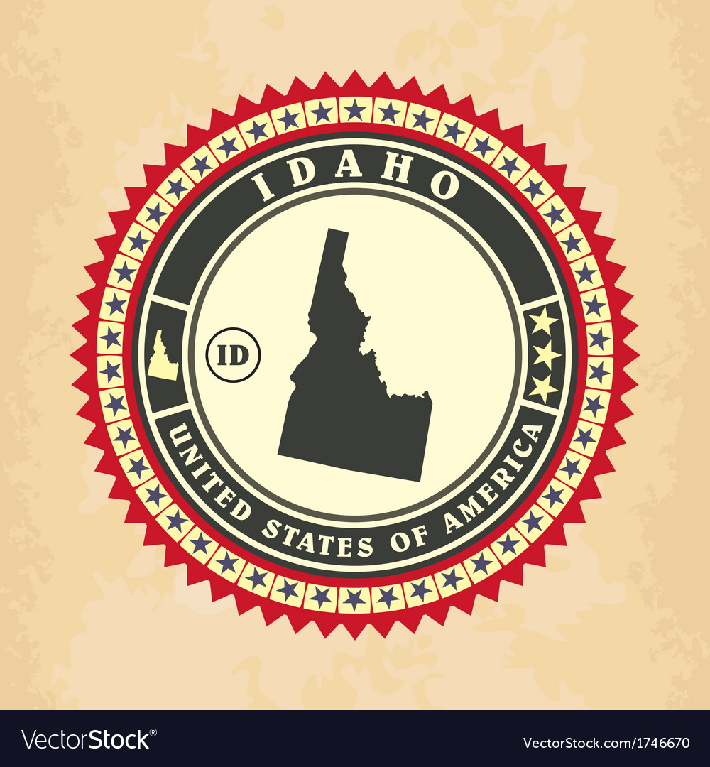 Vintage label-sticker cards of Idaho