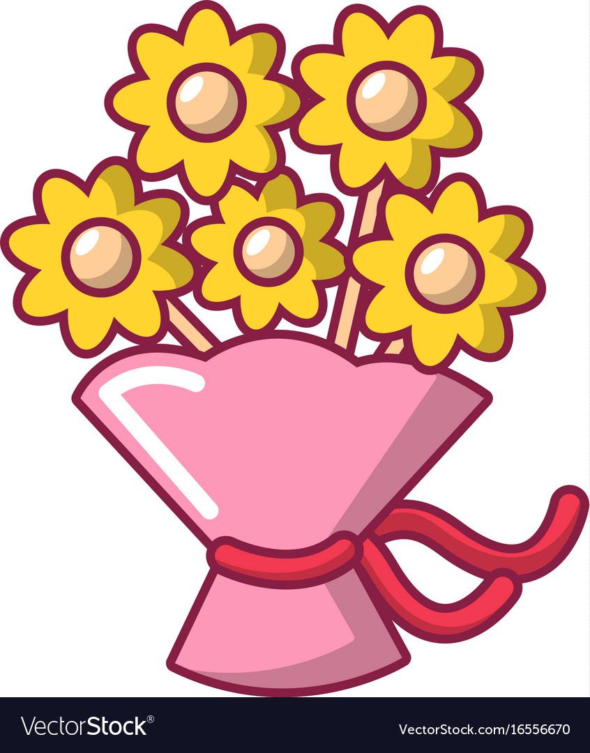 Wedding flower bucket icon cartoon style vector image