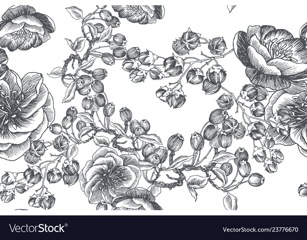 Wild flowers blossom branch seamless pattern