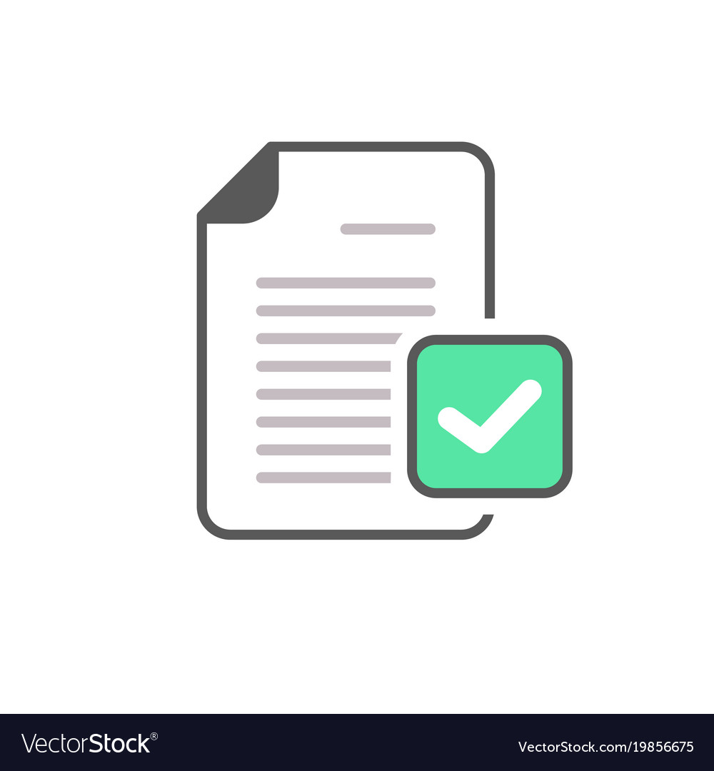 Check mark document file page verified icon