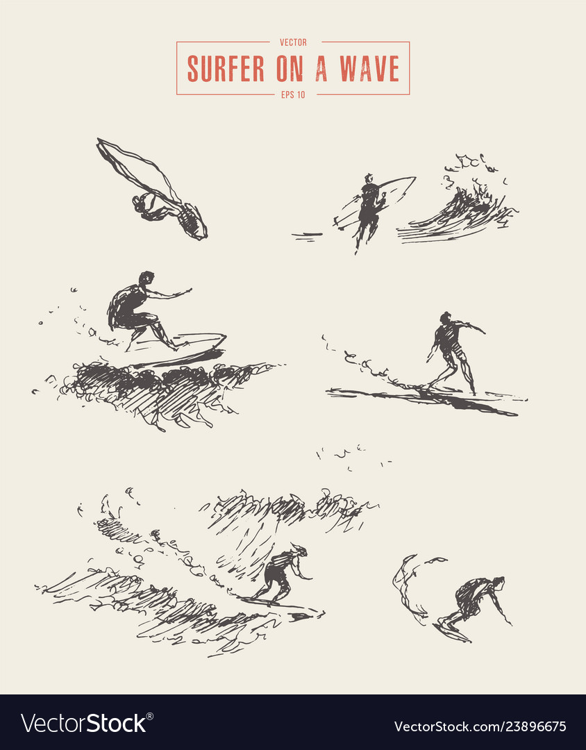 Collection sketches surfer wave drawn surf