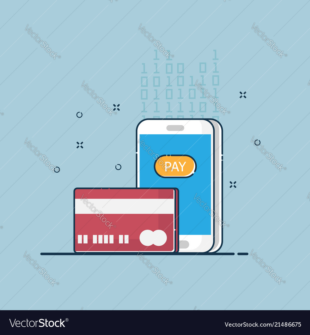 Digital online payment flat design