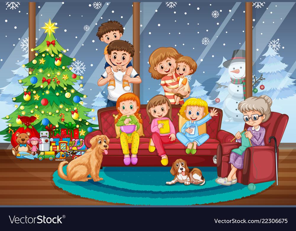 Christmas Scene.Family Together On Christmas Scene