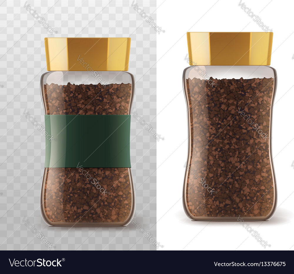 Instant coffee glass jar with isolated icons vector image