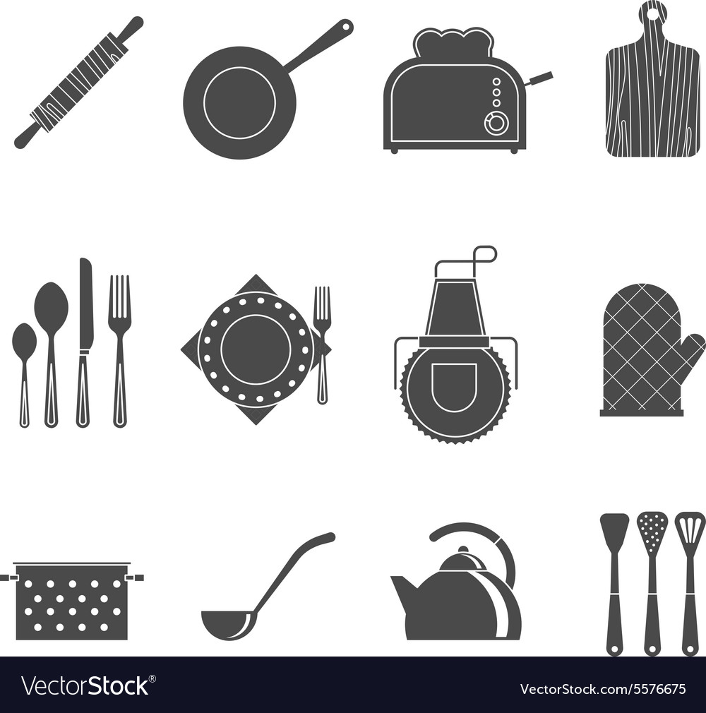 b94eaed1b Kitchen tools accessories black icons set Vector Image