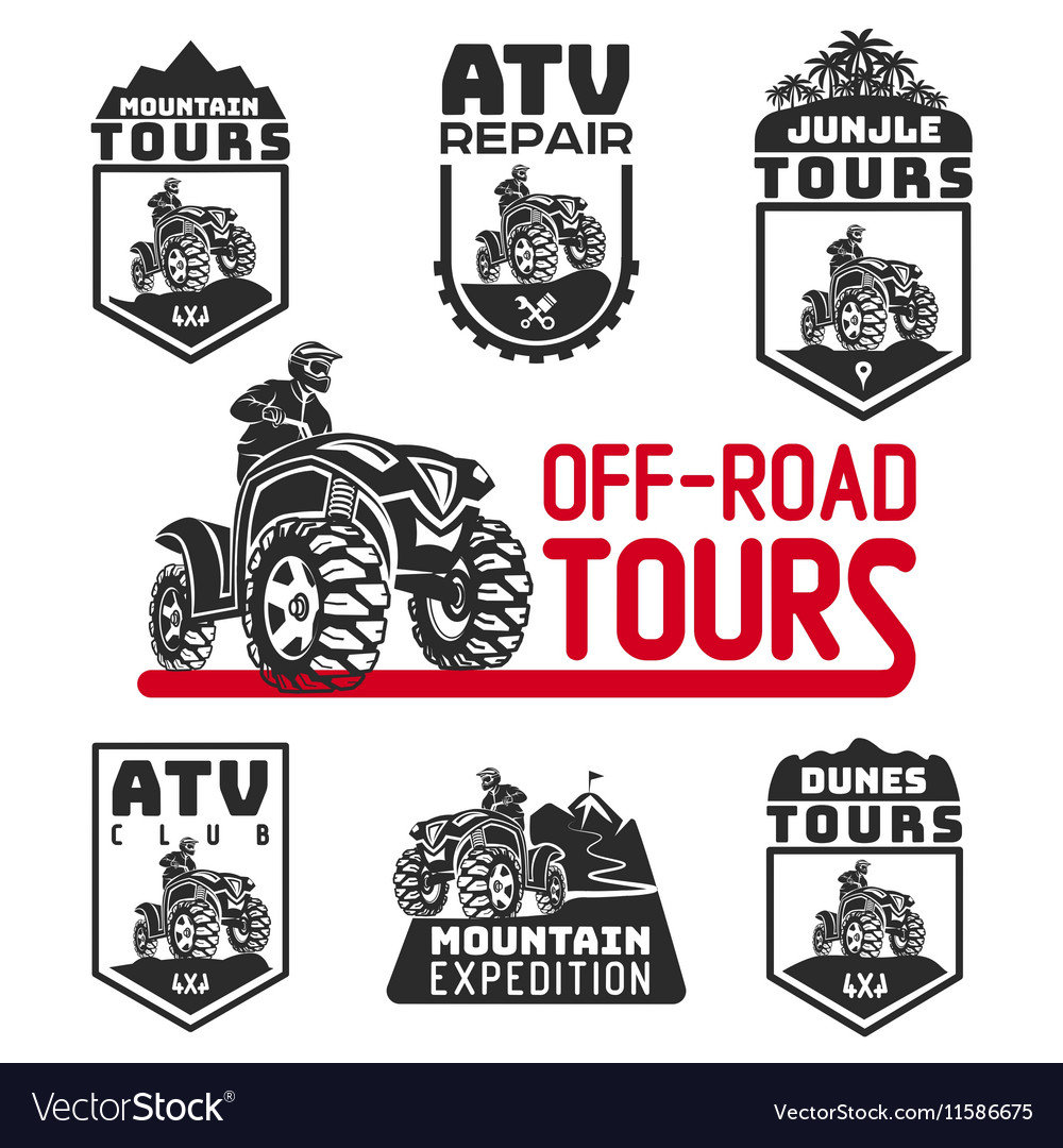 Set of ATV vehicle logo and emblems All-terrain vector image