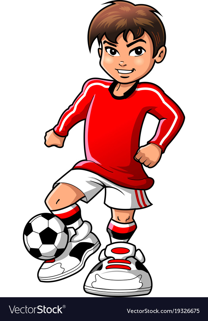 soccer football player teen boy sports clipart vector image rh vectorstock com soccer player clip art silhouettes soccer player clipart gif