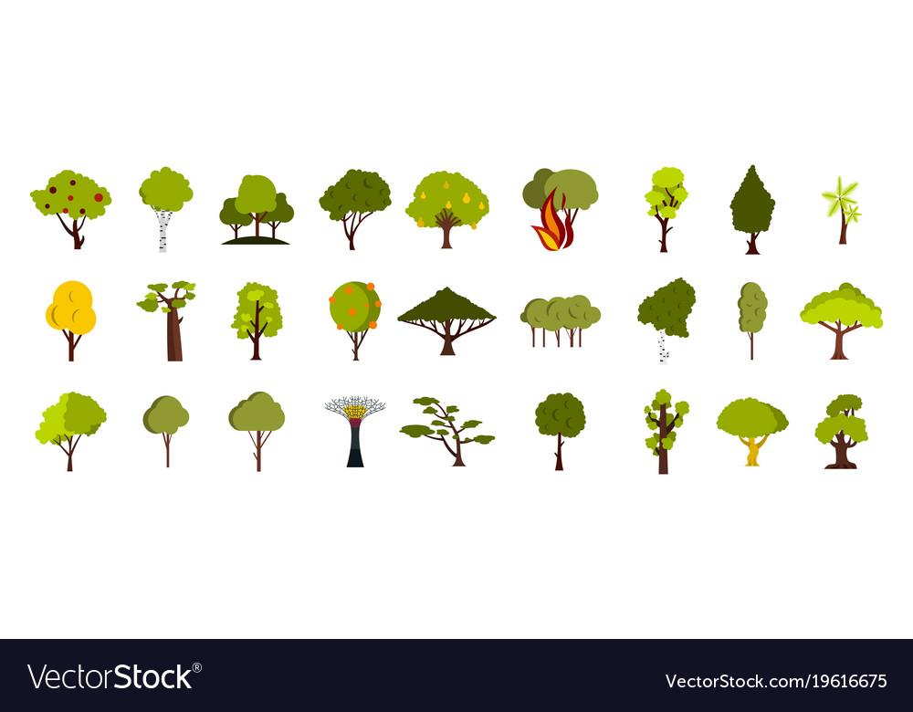 Tree icon set flat style
