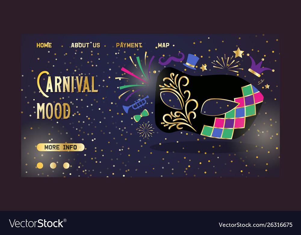 Venetian carnival mask website main page banner