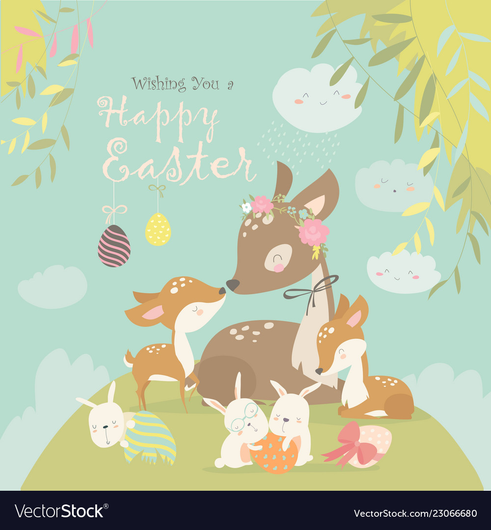 Cartoon deer family with cute bunnies happy