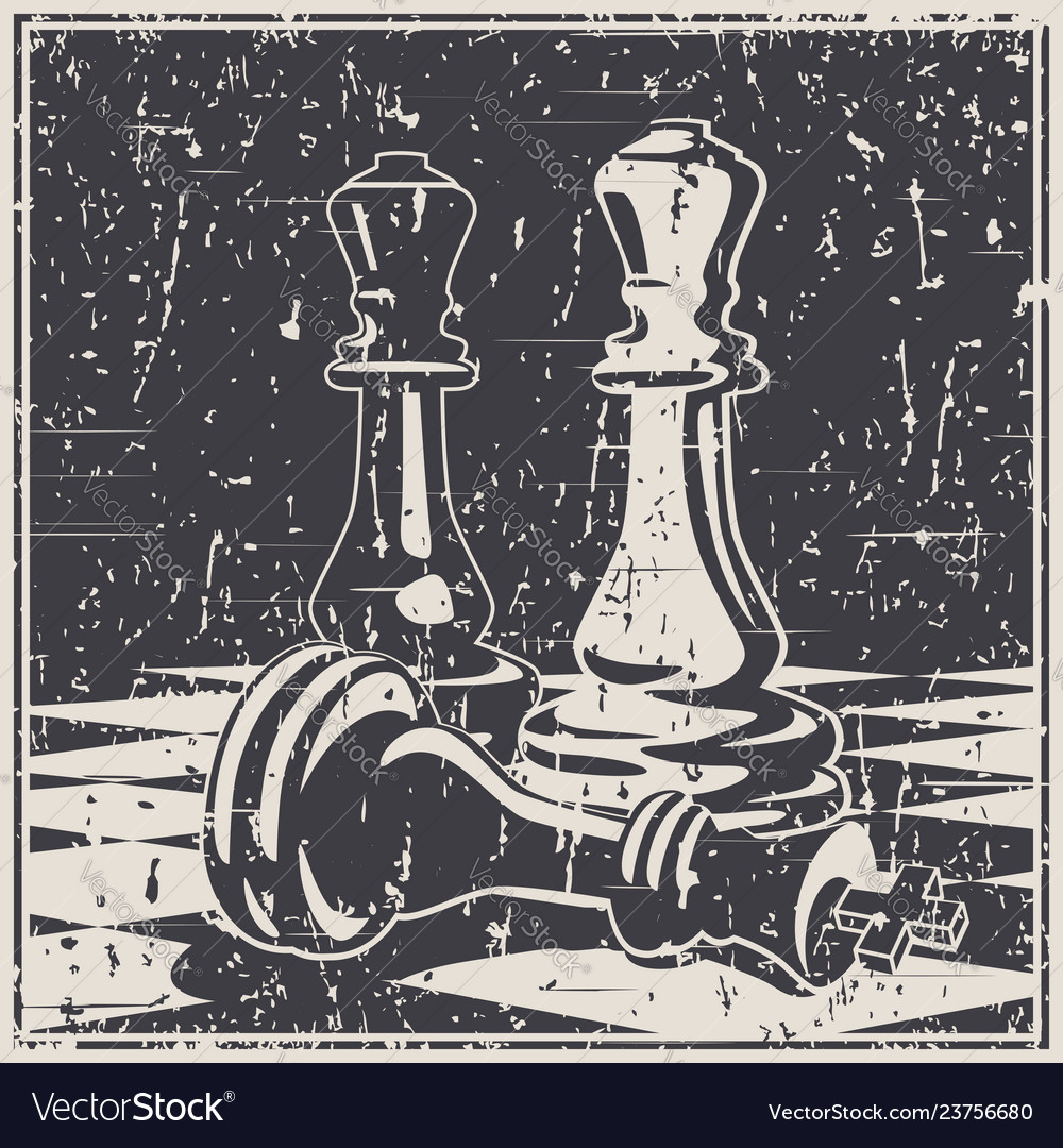 Chess game concept and strategy old poster