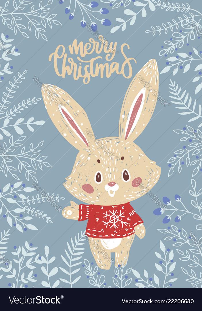 Christmas card with bunny