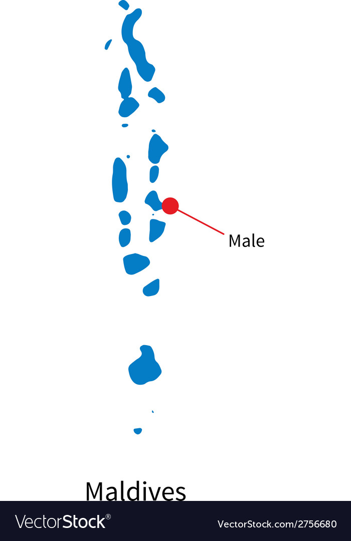 Detailed Map Of Maldives And Capital City Male Vector Image