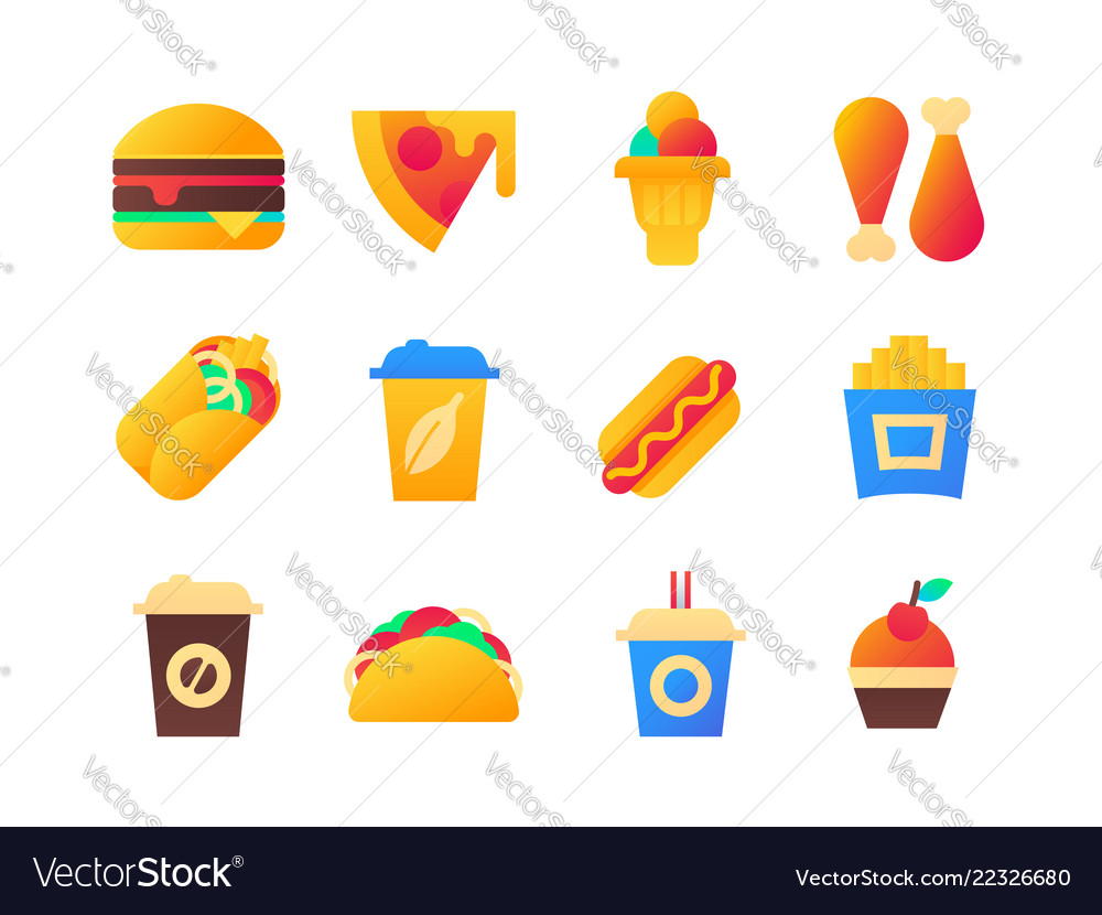 Fast food - set of flat design style icons