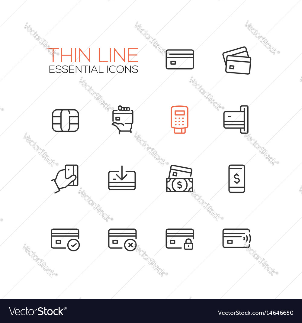 Finance - modern single thin line icons set