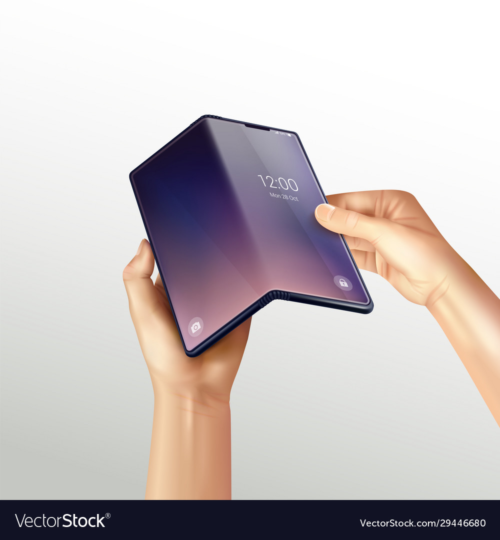 Foldable smartphone realistic composition
