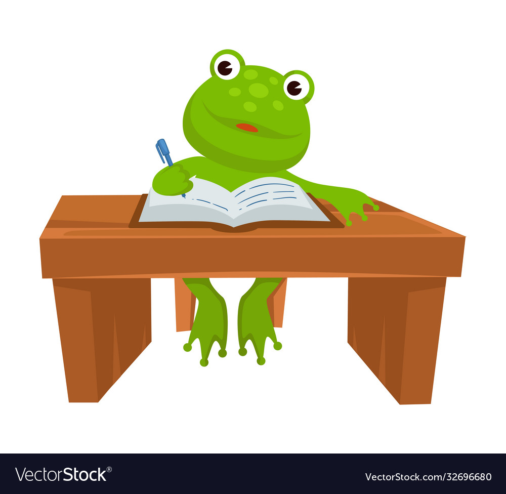 Frog sitting table writing in textbook
