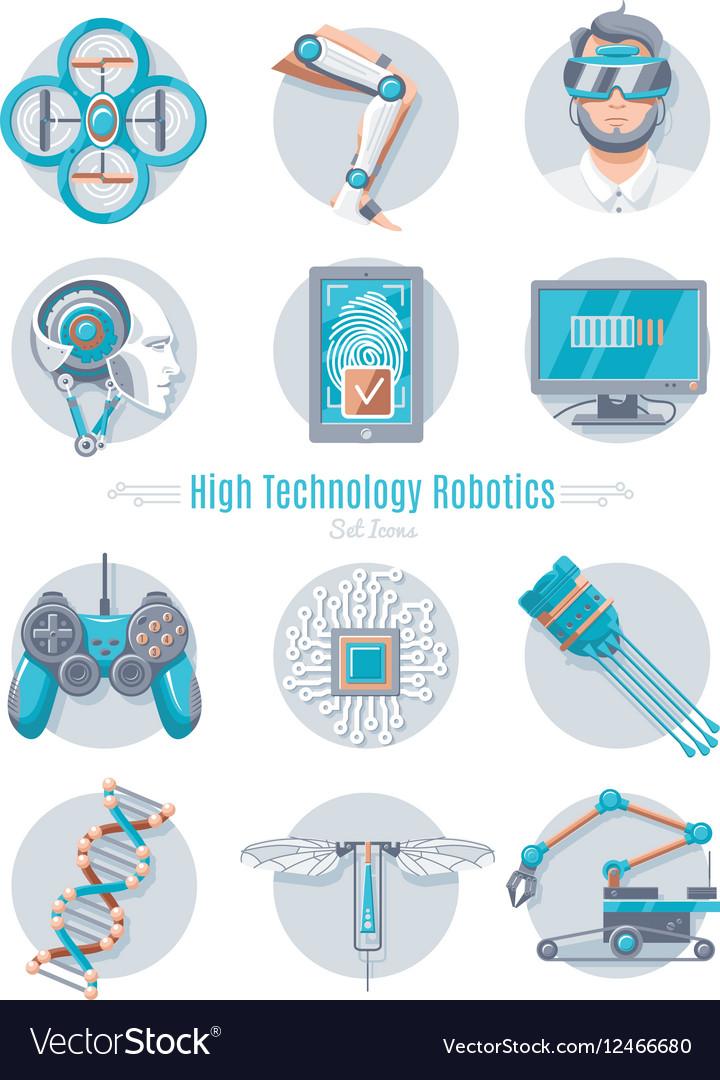 Hi Tech Robotics Icon Set Royalty Free Vector Image