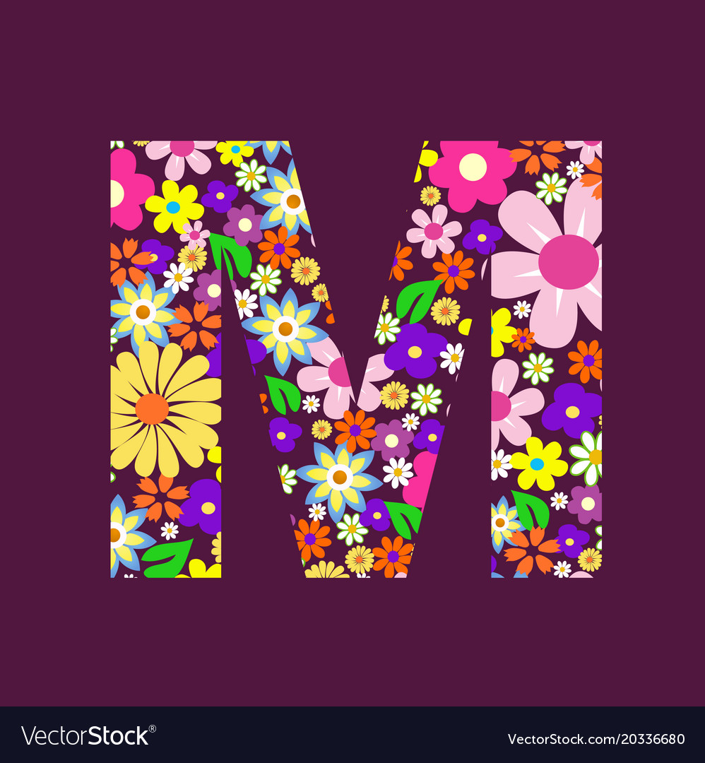 Letter Of Beautiful Flowers M Royalty Free Vector Image