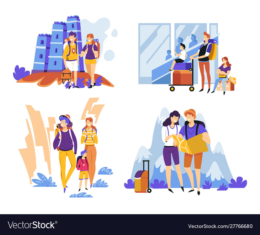 Parents with kid travelling and backpacking with