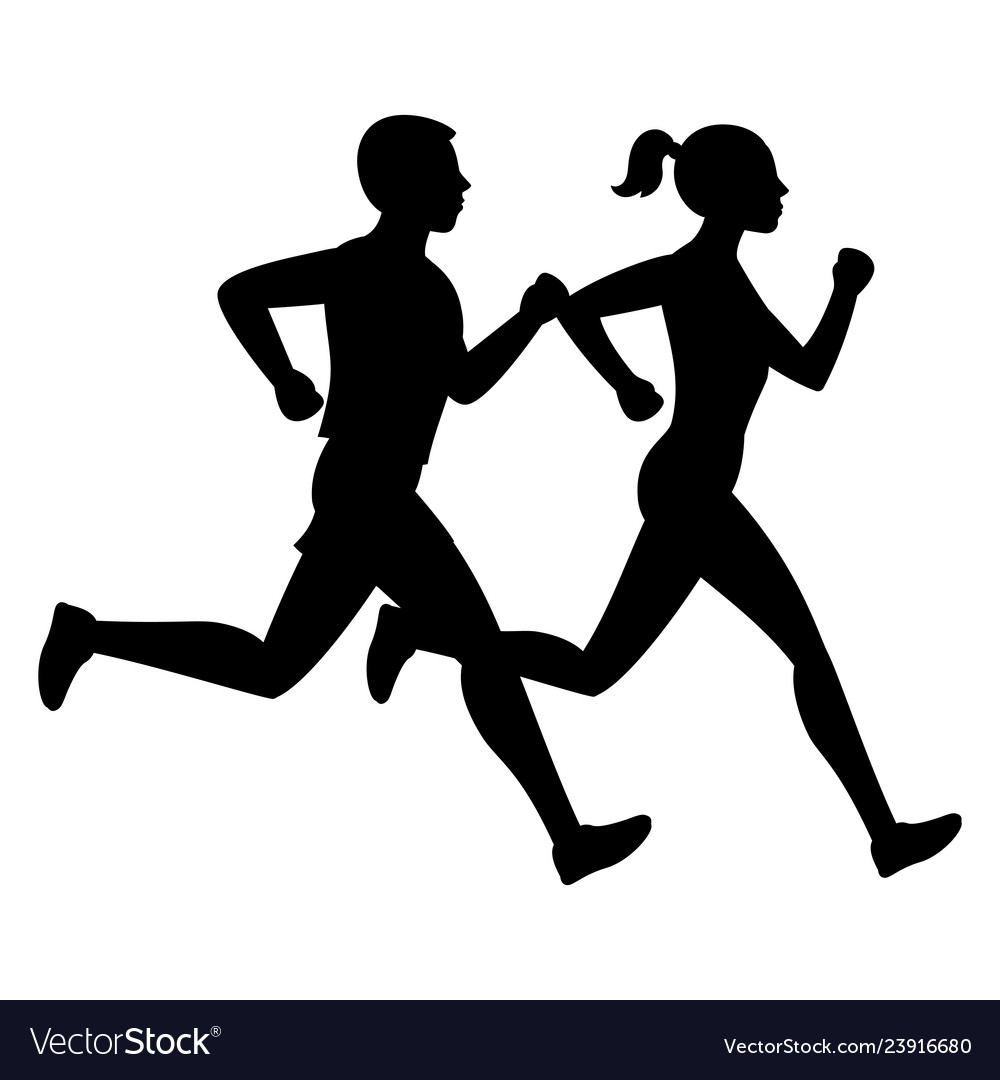 Running man and woman black silhouettes
