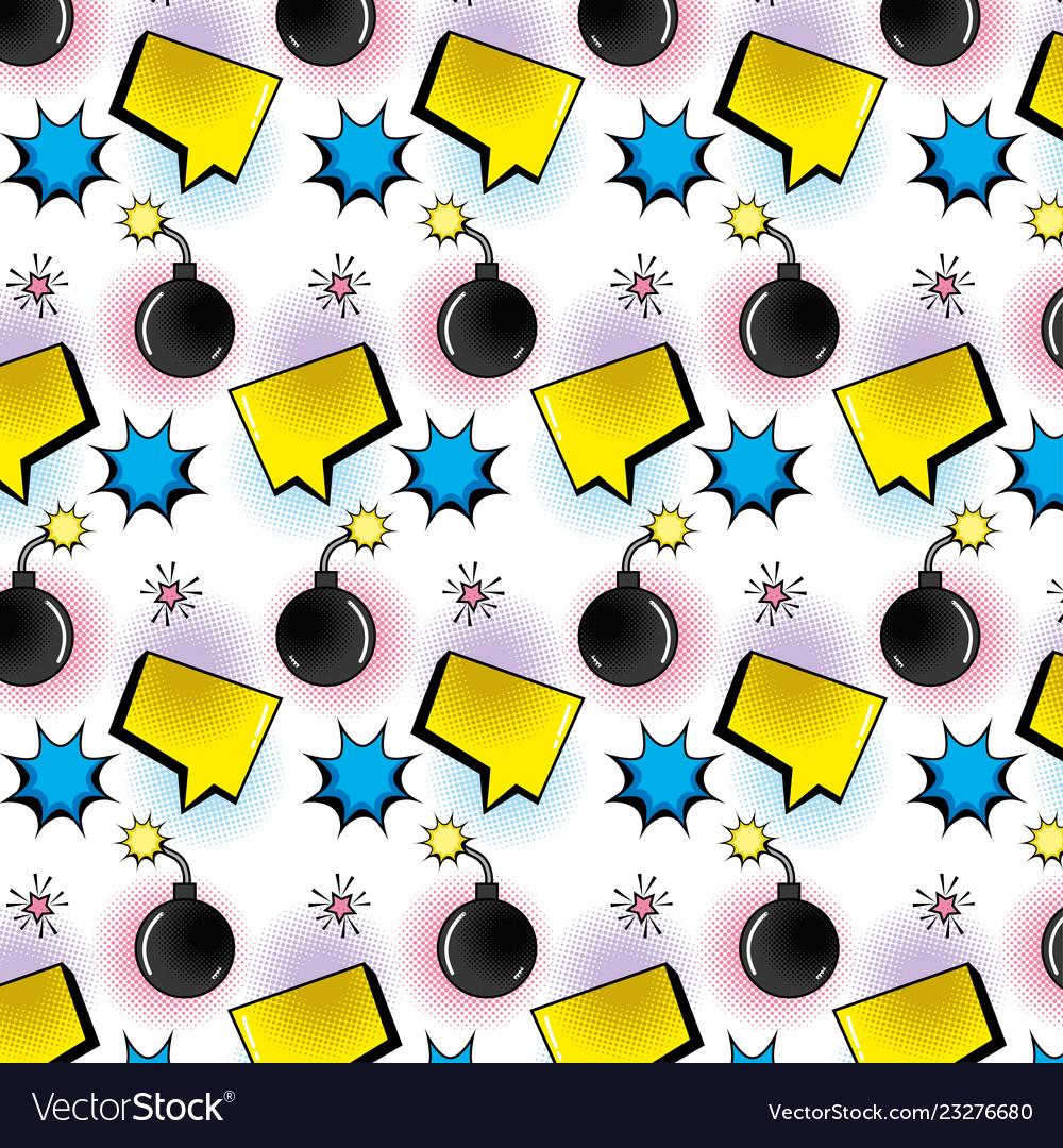 Set icons pop art style pattern
