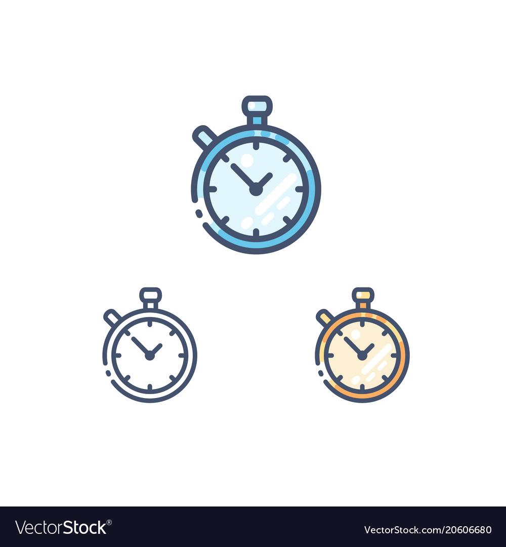Stopwatch line icons set