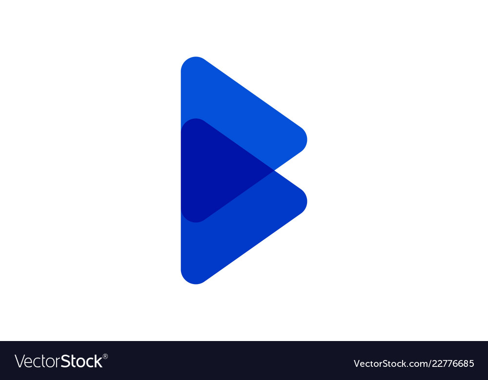 Abstract letter b blue color logo designs