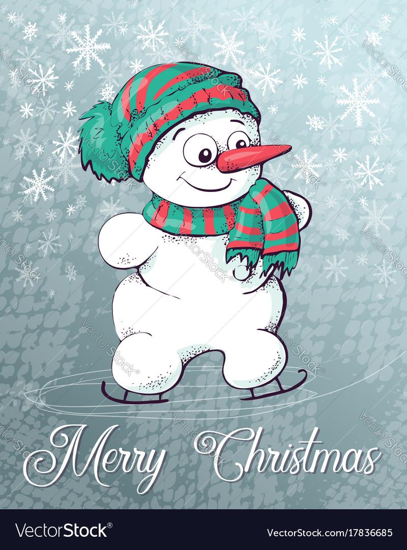 Christmas snowman on skates