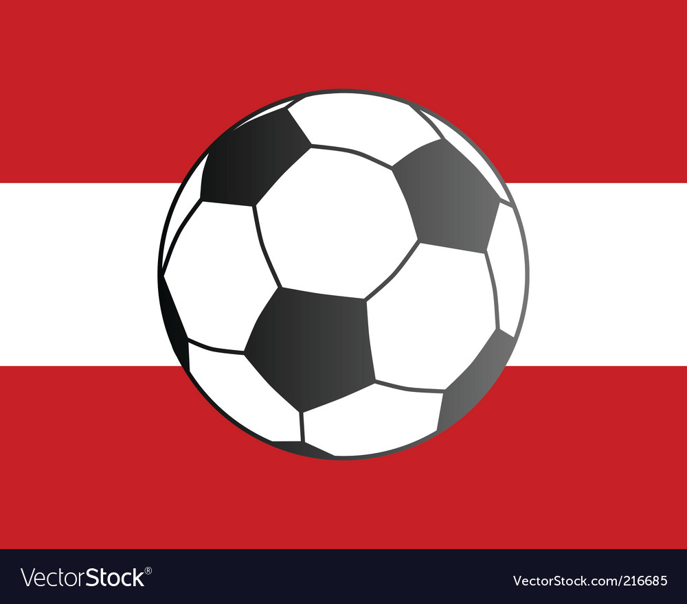 Flag of Austria and soccer ball