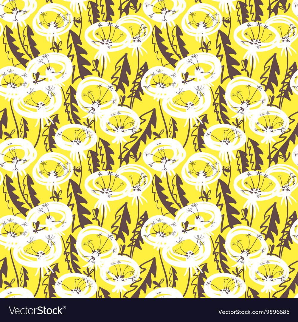 Floral seamless pattern with doodle dandelions